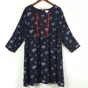 Old Navy Black Floral Embroidered Dress XXL